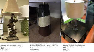 ASSORTED ASHLEY LAMPS STARTING AT $25.00