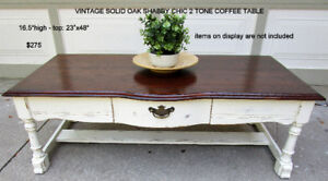 TODAY -VINTAGE SOLID OAK SHABBY CHIC COFFEE TABLE - 1 OF A KIND