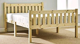 Solid Natural Pine Heavy Duty king size bed with headboard
