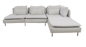 """IKEA """"SÖDERHAMN"""" White Sofa Couch and Footstool Set!"""