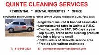 Quinte's & P.E.C.  #1 Home Cleaning Service with rate guarantee