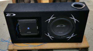 Alpine Sub and Amp Mounted in Box