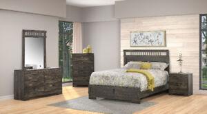 Brand new rustic look 7 piece complete queen bedroom set $1198!