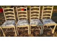 Four Oak Chalk Painted Chairs