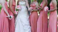 Bridesmaids convertible dresses for sale: peach/coral