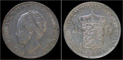 Nederland Wilhelmina I 2 1/2 gulden(rijksdaalder)1931