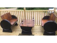 Oak barrel garden furniture for garden patio pub bar wedding