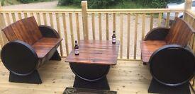 Oak barrel garden furniture for the garden patio bar pub wedding