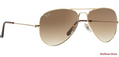 Ray Ban 3025 001/51 Gold Aviator Sunglasses 58mm New and (Ray Ban Gold And Brown Aviators)