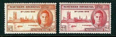 Northern Rhodesia Scott 46-47 GVI Peace Issue MNH 1946