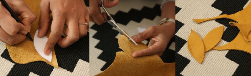 Male ein Blatt auf Papier auf und nutze es als Vorlage für Deine Leder-Blätter. (© Sina Huth)