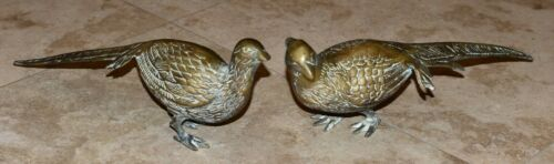 Set of 2 Vintage Mid Century Brass PHEASANTS Male-Female-13 and 12 Inches Long