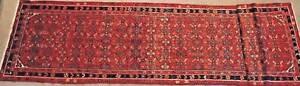New Hamedan Hand Knotted Persian Rug Wool Runner 110x425cm