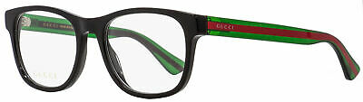 Gucci Rectangular Eyeglasses GG0004O 002 Black/Green/Red 53mm (Gucci Red And Green Glasses)