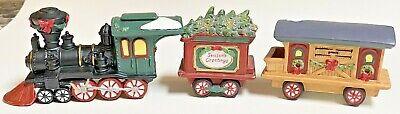 Holiday Time Christmas Village Collectible Santa Train 3 Piece Set Porcelain Use