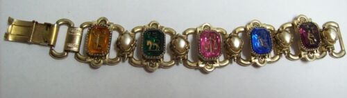 Vintage Victorian Glass Colorful INTAGLIO Bracelet
