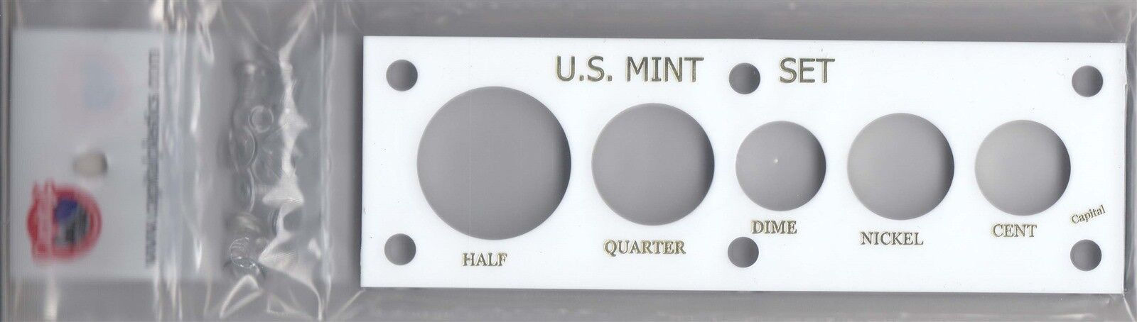 Capital Holder 2x6 US Mint Set Cent Through Half White Plastic Display Case NEW