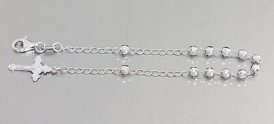 Rosenkranz Armband Silber 925 mit facettierten Kugeln - Silberarmband mit Kreuz