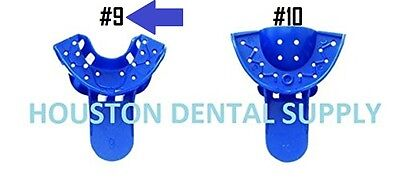 12 Dental Disposable Impression Trays Perforates Blue 9 Anterior Lower - Upper