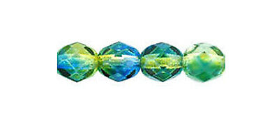 Blue Round Glass (50 Blue / Yellow Czech Glass Fire Polished Faceted Round Beads)