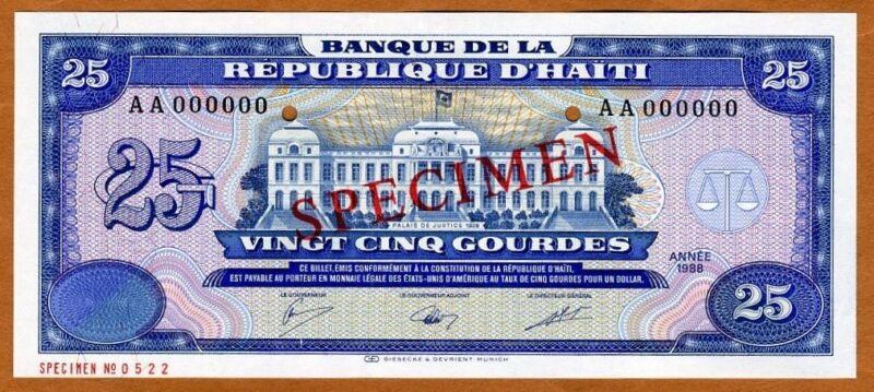 Specimen, Haiti, 25 Gourdes, 1988,  P-248s UNC