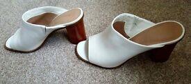 M&S white block heel mule size 6