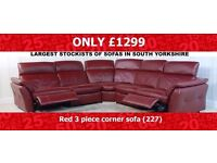 Designer Leather Red Mustang sofa (227) £1299