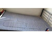 Metal double bed - Silver and black with matters