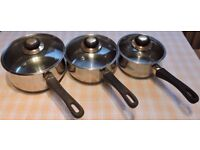 """Set of 3 Eurocook """"Gold Plated"""" Stainless steel Saucepans"""