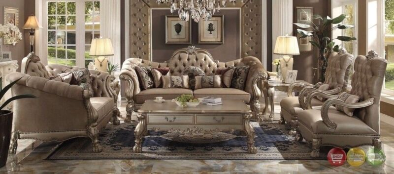 Dresden Victorian 3-pc Tufted Sofa Set In Champagne Velvet & Gold Patina Finish