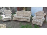 Beautiful Wing Back Three Piece Suite