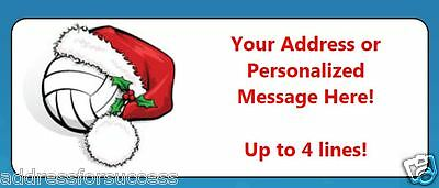 60 Personalized Volleyball Santa Hat Christmas Return Address Labels