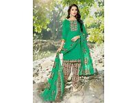 Green Cotton Printed Patiala Salwar Suit
