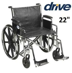 """DRIVE SENTRA EC 22"""" HEAVY DUTY REMOVABLE FULL ARMS WITH ELEVATING LEGRESTS WHEELCHAIR"""