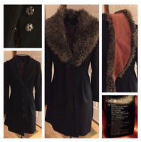 Peplum Style Flare Coat With Removable Fur Collar