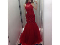 Red mermaid formal dress