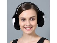 DAYMISFURRY--Black And White Rex Rabbit Fur Earmuffs With Leather Band