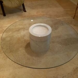 White Marble and Glass Coffee Table