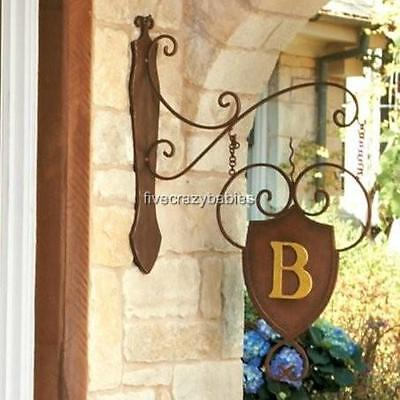 IRON SHIELD MONOGRAM Initial Hanging Wall Plaque Bracket Personalized Outdoor