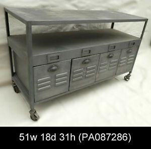 industrial metal four drawer console table on casters pa087286 n ebay. Black Bedroom Furniture Sets. Home Design Ideas