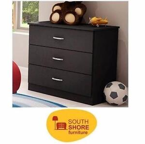 NEW SOUTH SHORE 3-DRAWER DRESSER CHEST   BLACK - Bedroom Furniture Chest & Drawers HOME DRAWERS WARDROBE 99158860
