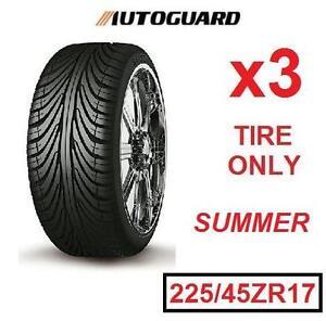 3 NEW AUTOGUARD RADIAL SUMMER TIRES - 113622324 - 225/45ZR17 SA802