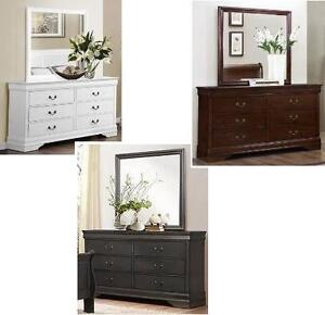 MODEL 2147 LOUIS PHILLIP DRESSER WITH MIRROR - AVAILABLE IN BLACK, GREY, WHITE AND DARK CHERRY 04-15-17