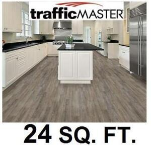 NEW  VINYL PLANK FLOORING 24 SQ FT TRAFFICMASTER 7.5 Inch x 47.6 Inch Marino Oak - 10PC PER BOX - 4MM - WOOD LOOK
