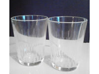 Set of 2 Matching Clear Glass Shot Drinking Glasses with Frosted Grey Pattern.