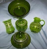 Green enameled glass  collection of 5 pieces