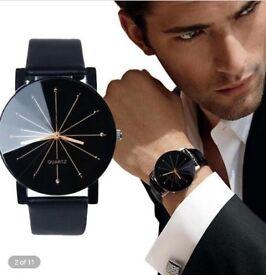 Beautiful Mens / womens slim Leather Wristwatch Quartz black face