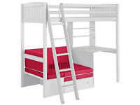High Sleeper Bed Frame with Pink Sofa Bed and Desk (White)