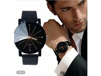 Beautiful Mens / womens slim Leather Wristwatch Quartz black face
