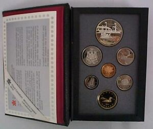 1991 Canada Proof Double Dollar Set, w/ silver dollar, 7 coins